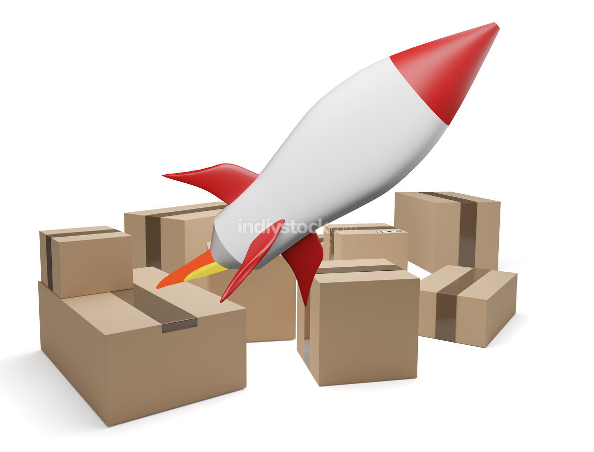 delivery packages rocket 3d-illustration