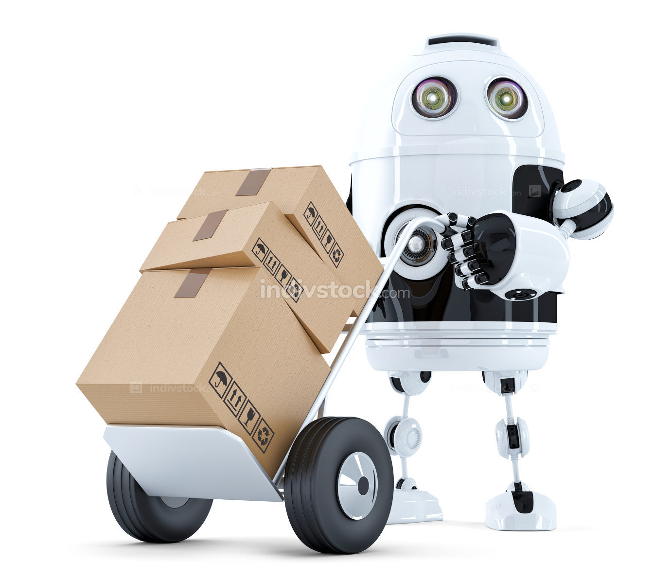 Delivery Robot. Isolated. Contains clipping path