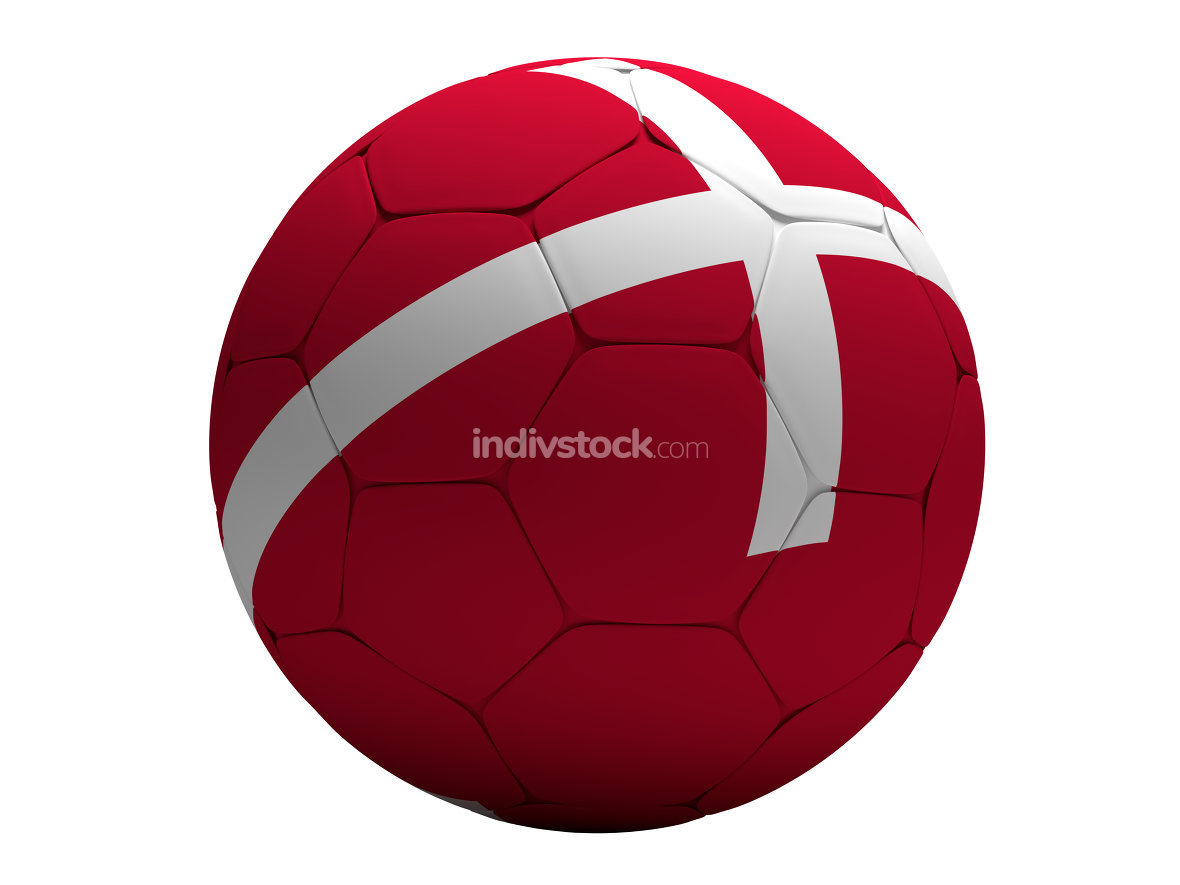 Denmark Danish soccer football ball 3D Rendering