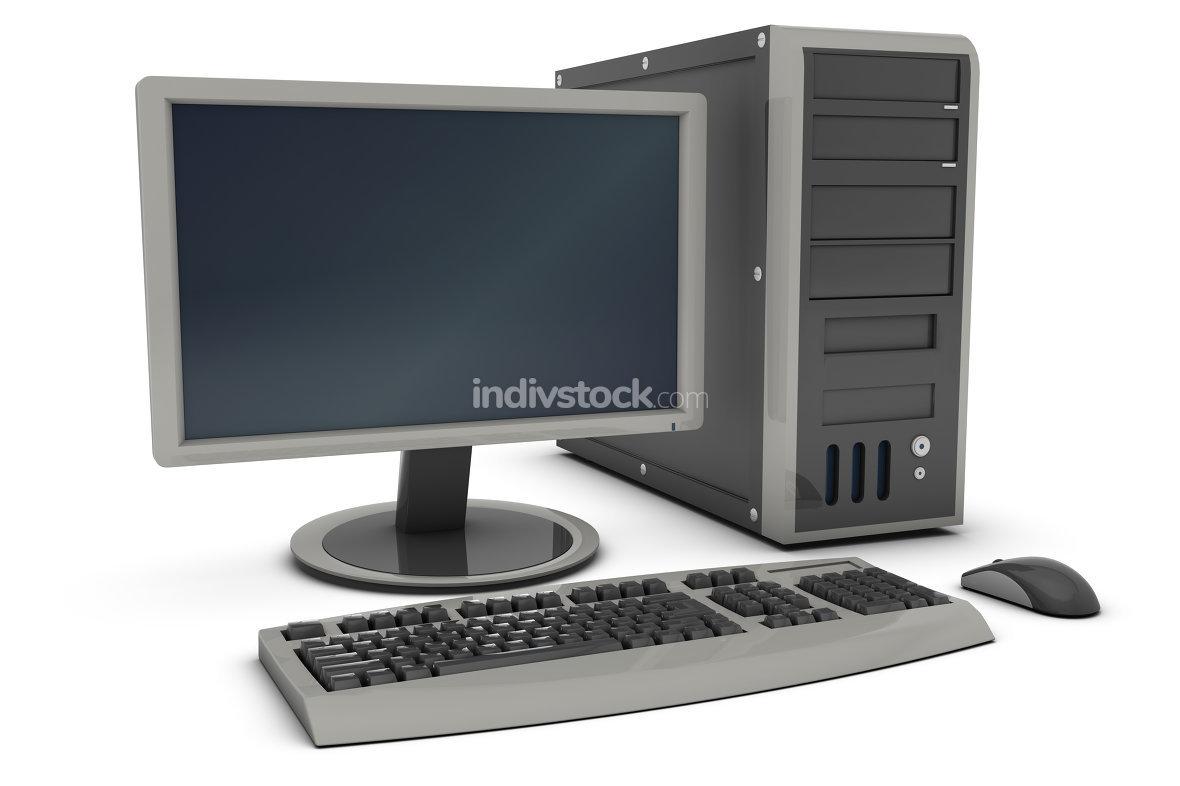 Desktop PC 3d rendered image