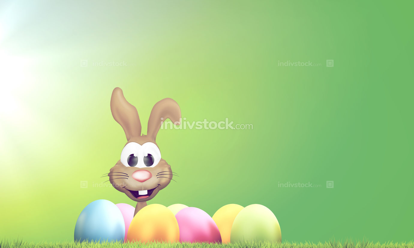 Easter bunny with Easter eggs and green lawn 3D Rendering
