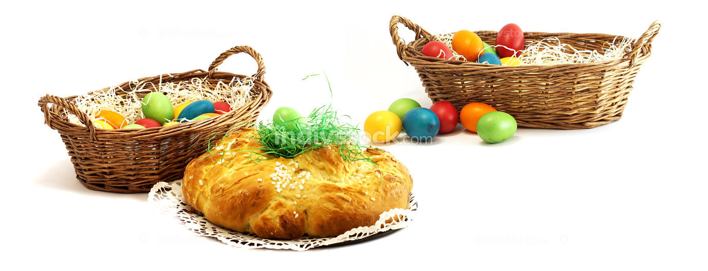 easter eggs with easter challah and easter basket