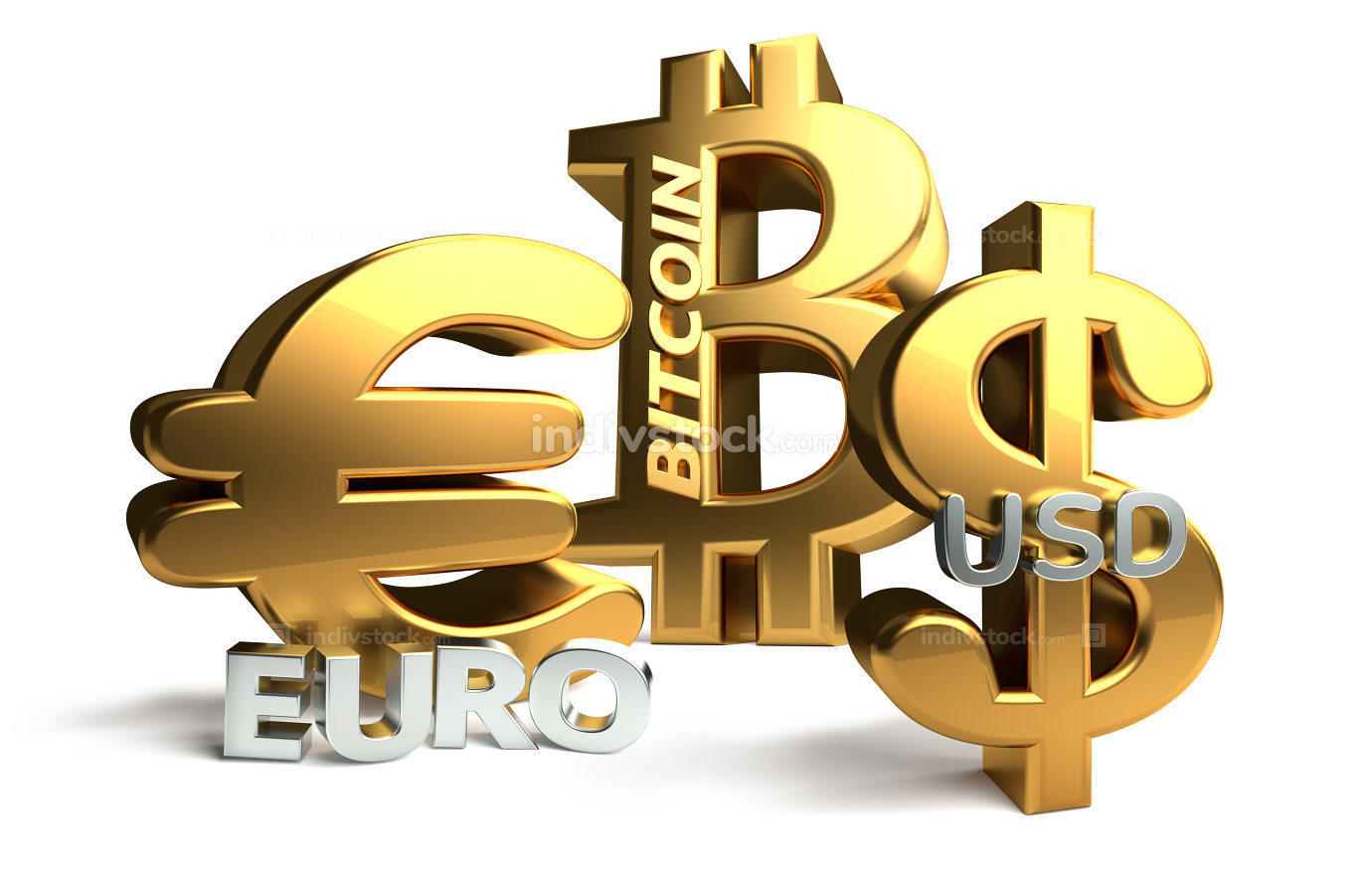 Euro Bitcoin US Dollar 3d rendering sybol golden