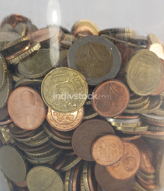 euro coins money cash in plastic savings box