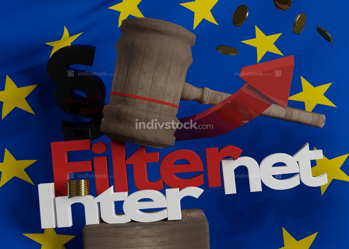 FIlternet flag of Europe on wooden judge gavel with bold letters