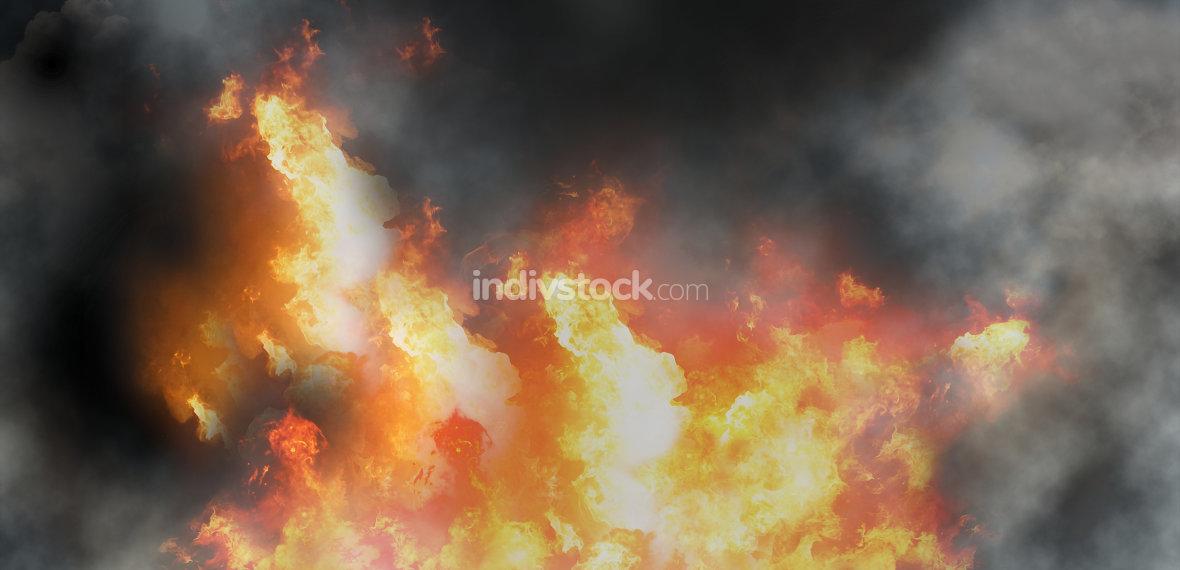 fire flames smoke background 3d-illustration
