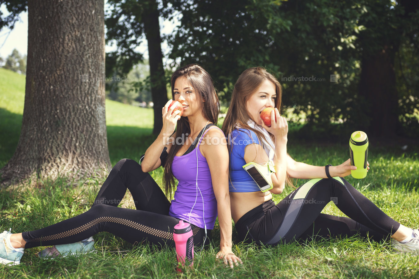 Fitness girls are resting