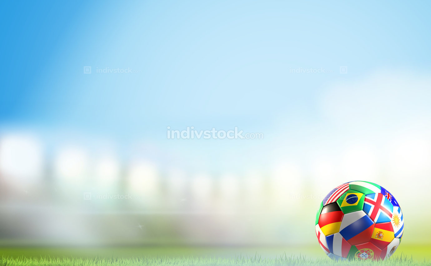 flags soccer ball 3d illustration