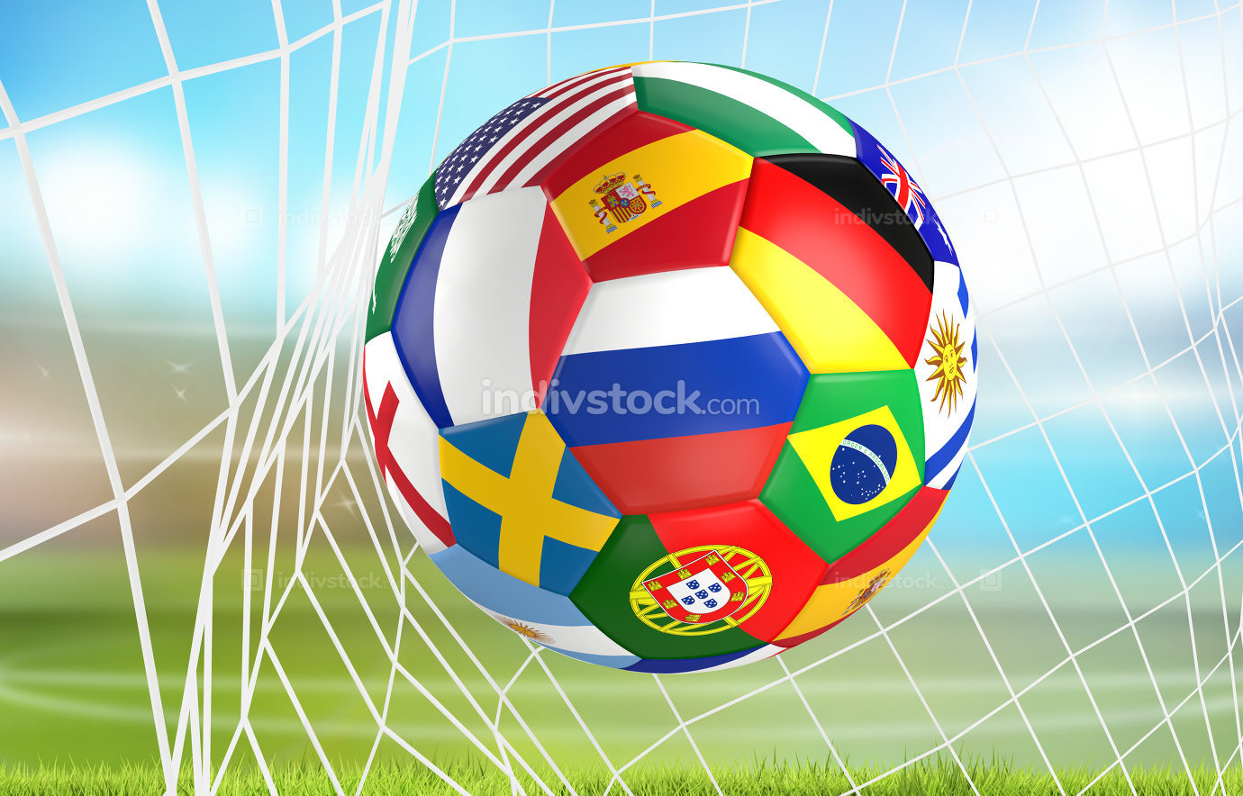 flags soccer ball in soccer net. socer goal 3d rendering