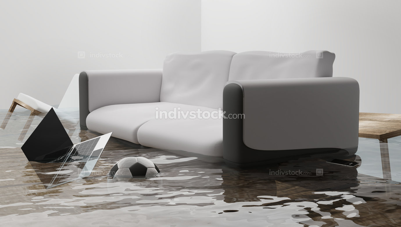 flooded water damage due to flooding in the house 3d-illustratio