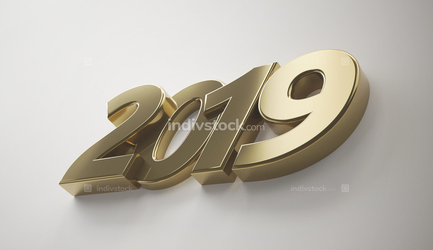 free download: 2019 golden bold letters 3d-illustration