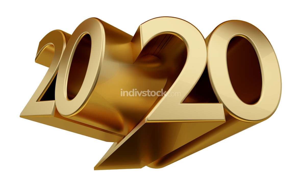 free download: 2020 golden bold letters 3d-illustration