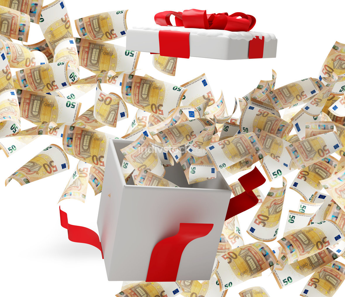free download: christmas present 50 euro banknotes 3d-illustration
