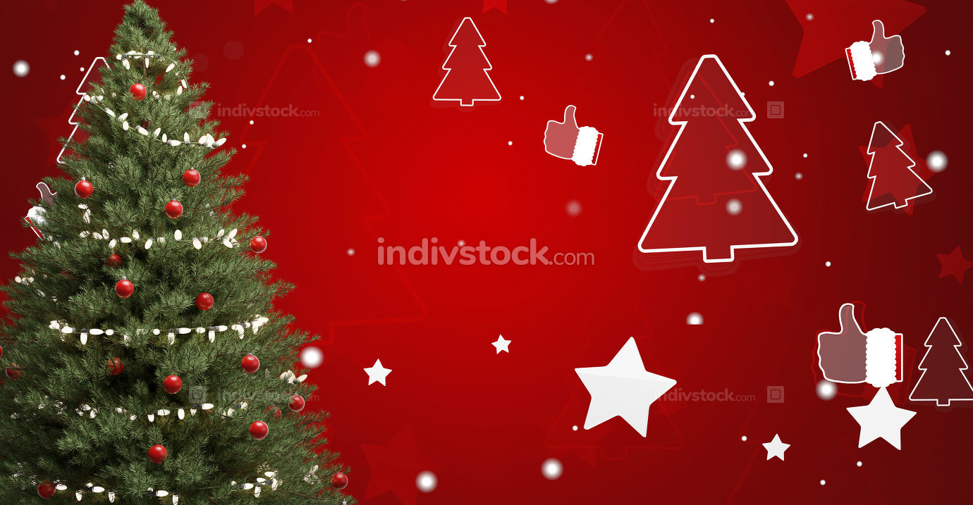 free download: Christmas tree fir with baubles and festive star and tree silhou