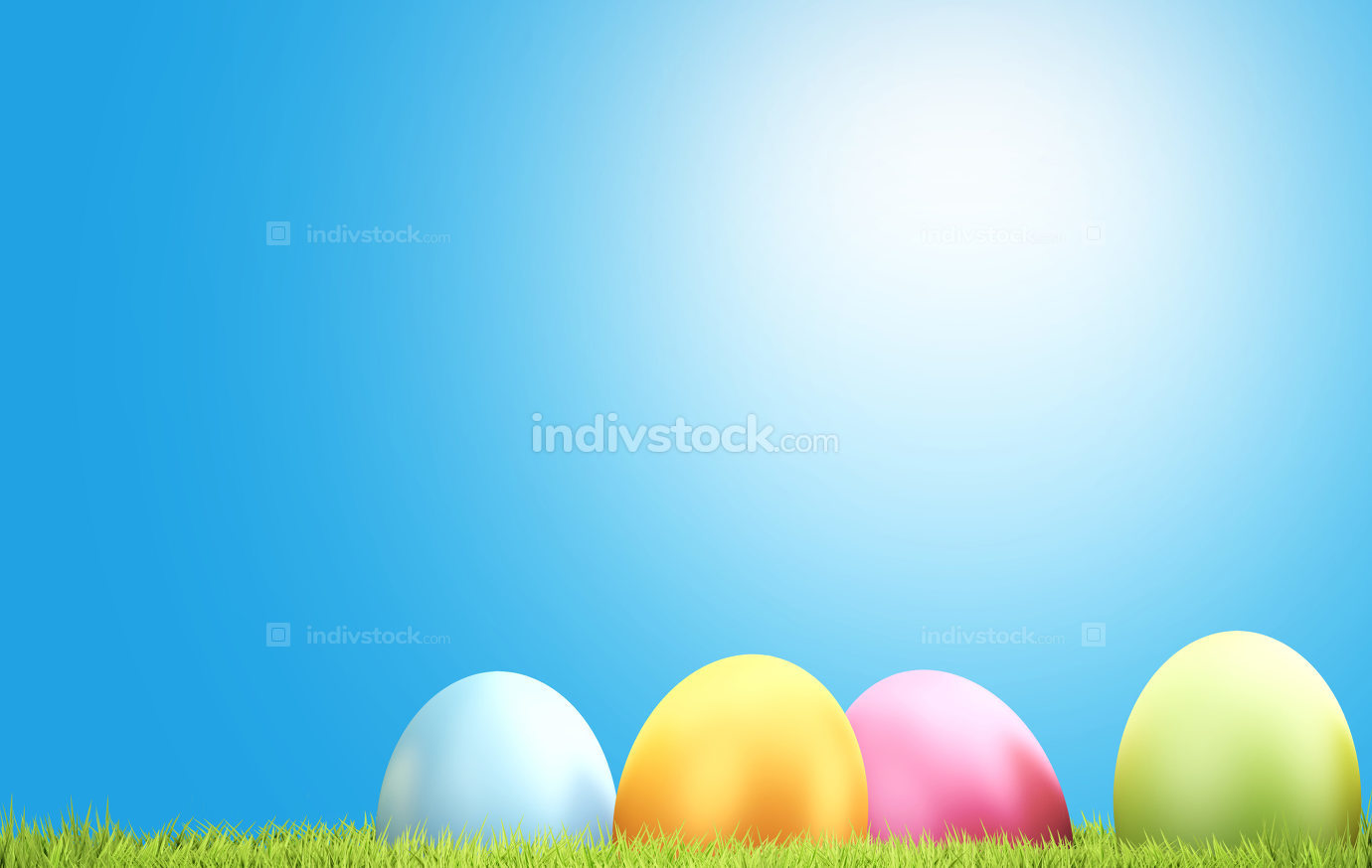 free download: Easter eggs and green grass 3d rendering background