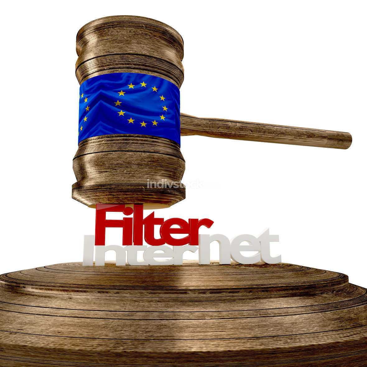 free download: Filternet flag of Europe on wooden judge gavel with bold letters