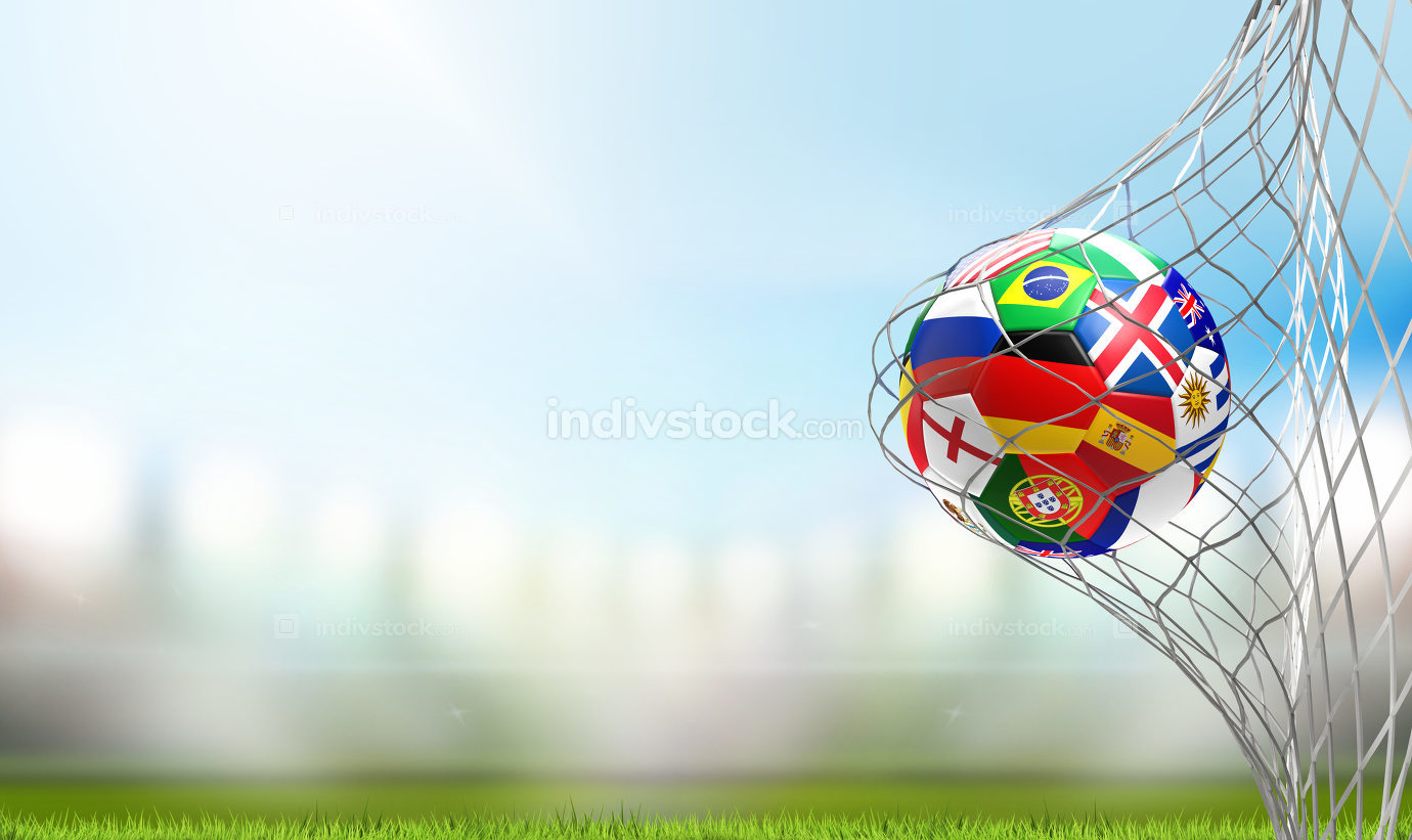 free download: flag of Russia design soccer goal. soccer ball in soccer net 3d