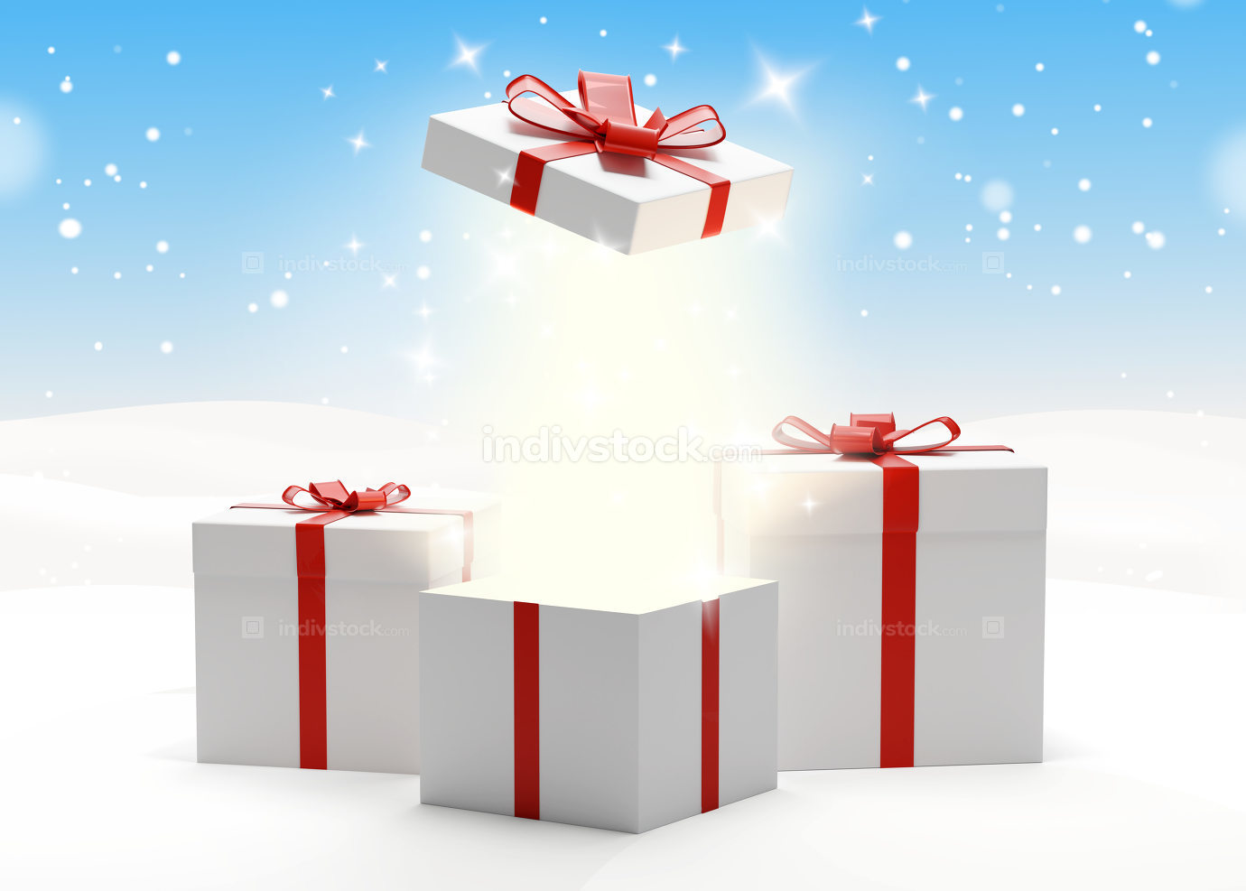 free download: gift boxes presents boxes 3d-illustration with bow and ribbon