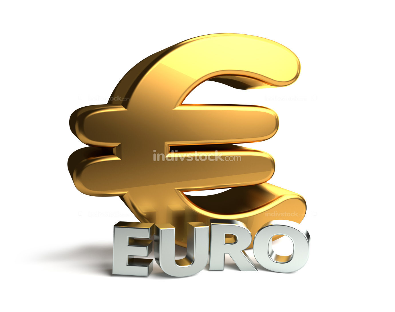 free download: golden silver Euro symbol 3d rendering