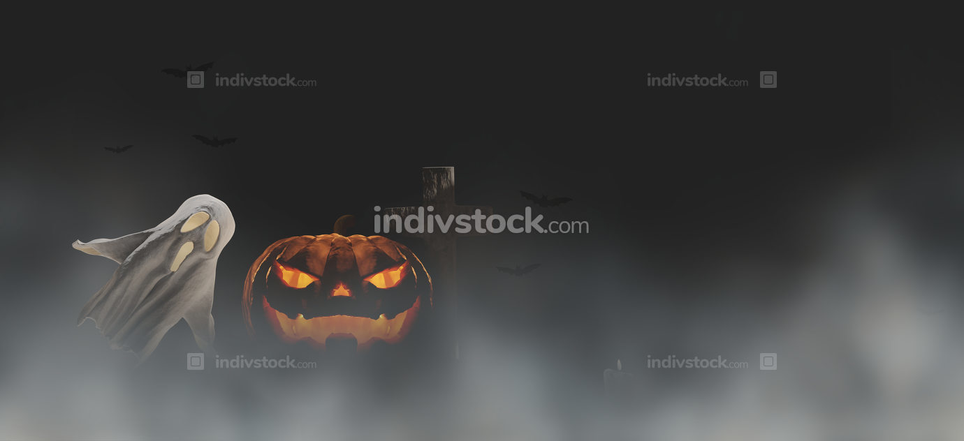 free download: Halloween background 3d-illustration Halloween pumpkin and ghost