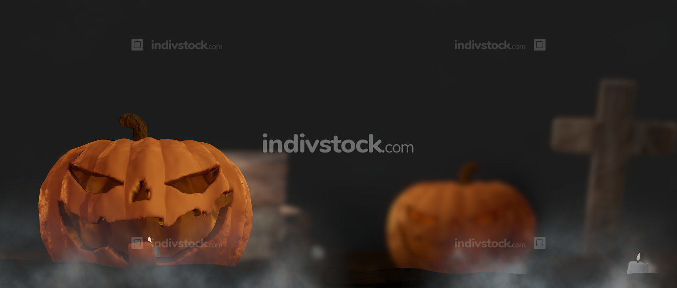 free download: Halloween night with Halloween pumpkin with graveyard cross with