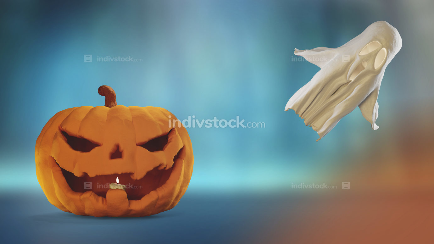 free download: Halloween pumpkin and ghost 3d-illustration