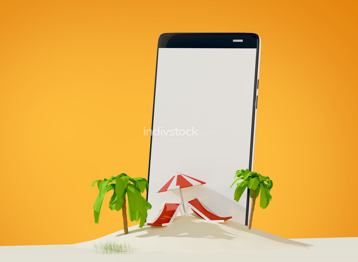 free download: phone lounge and umbrella on sand beach island 3d-illustration