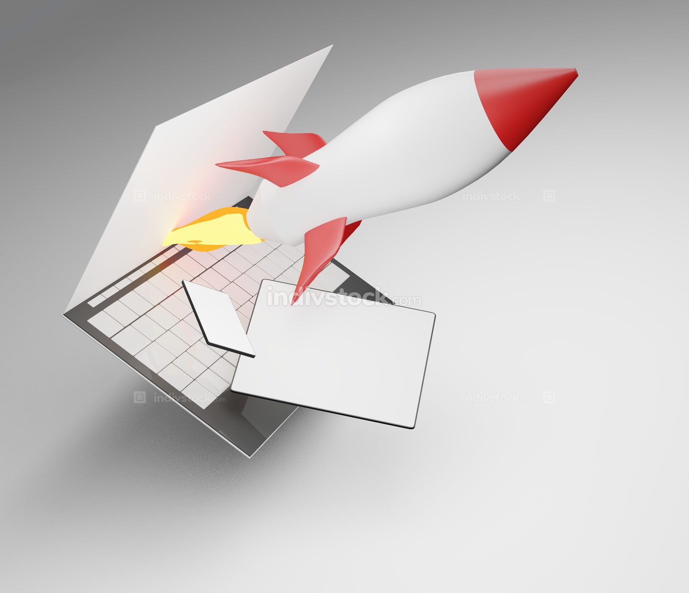free download: rocket start computer screen phone tablet computer 3d-illustration