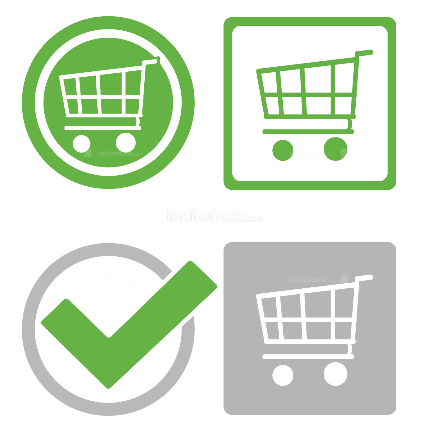 free download: shopping cart basket symbol icons buttons flat illustration