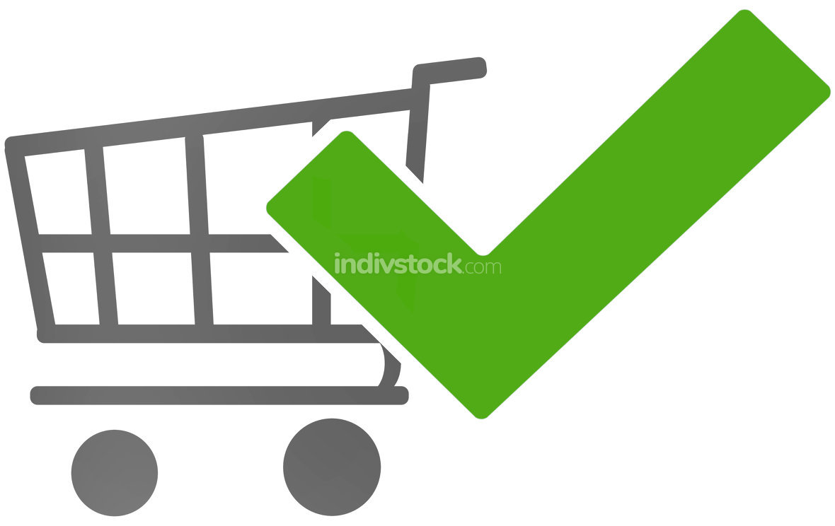 free download: shopping cart tick check okay 3d-illustration