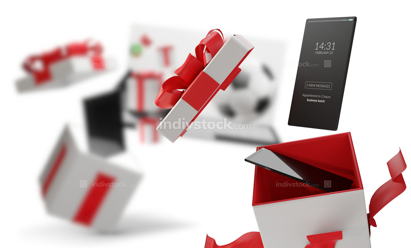 free download: surprise box present with full screen mobile phone white 3d-illu