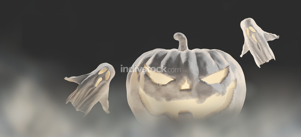 free download: white Halloween 3d-illustration Halloween pumpkin with ghosts