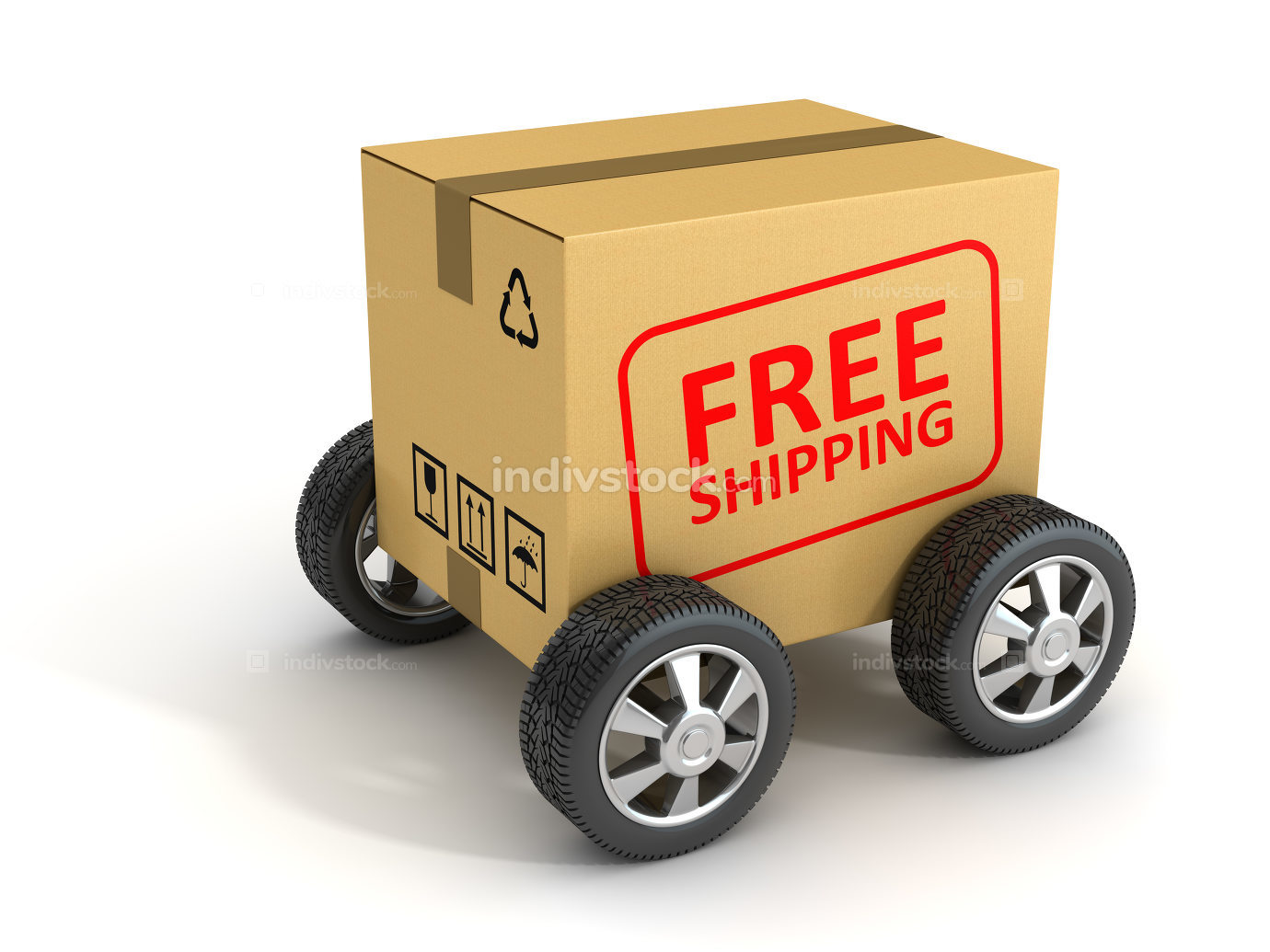 Free Shipping Cardboard with Wheel 3d rendered