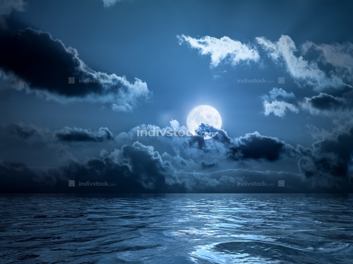 Full moon over the ocean 3d rendering