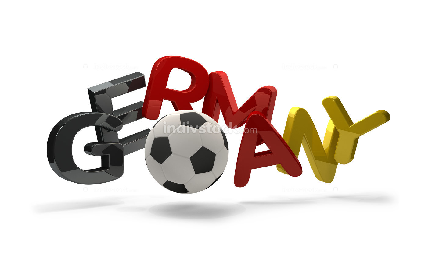 Germany soccer football 3d rendering symbol with soccer ball