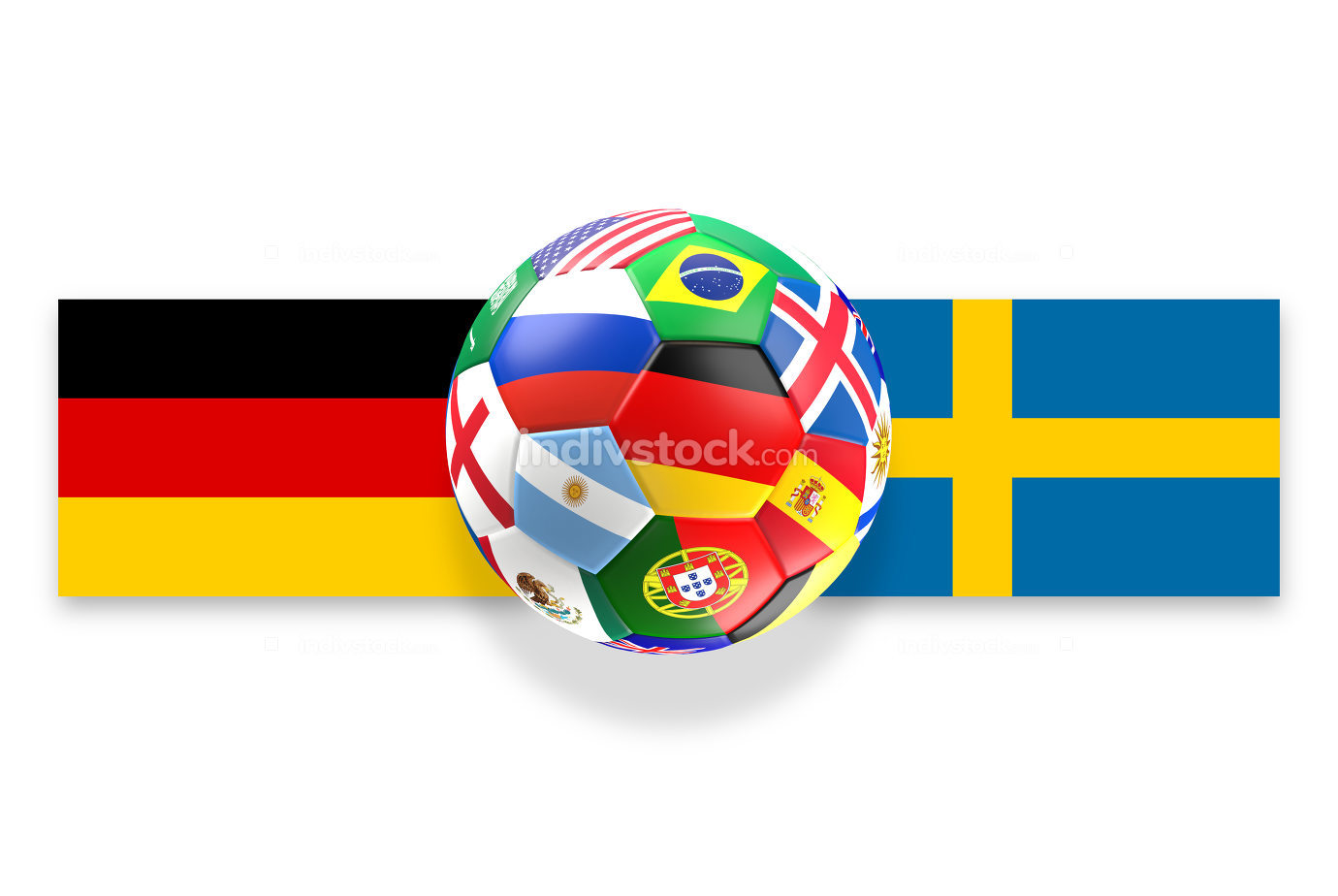 Germany Sweden soccer ball 3d rendering with Russia