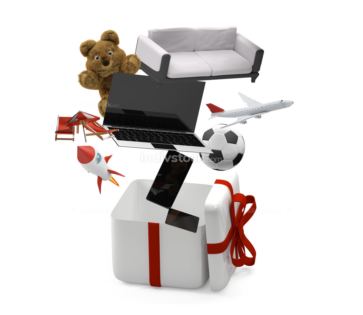 gift box with presents 3d-illustration