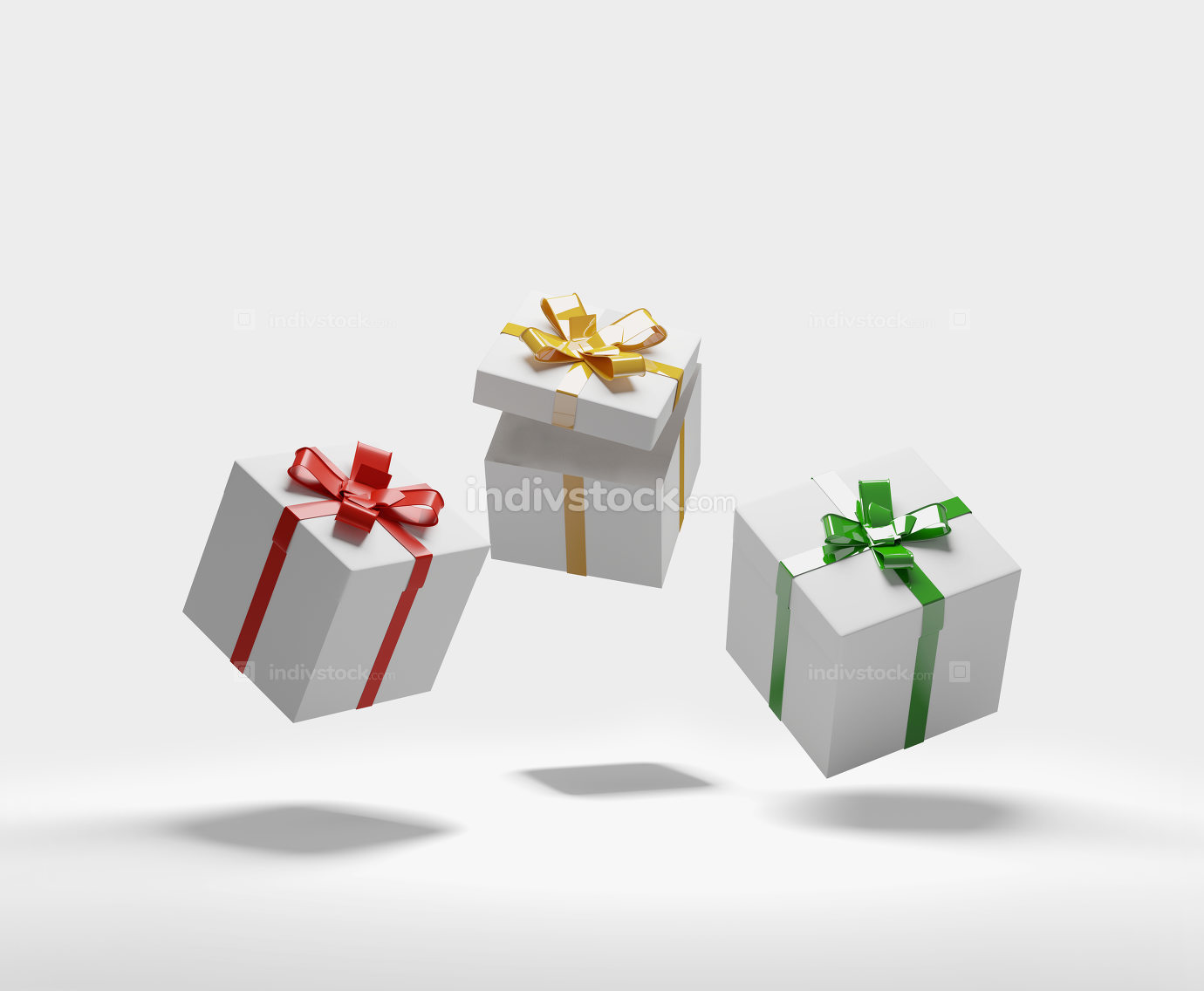 gift boxes with ribbon 3d-illustration