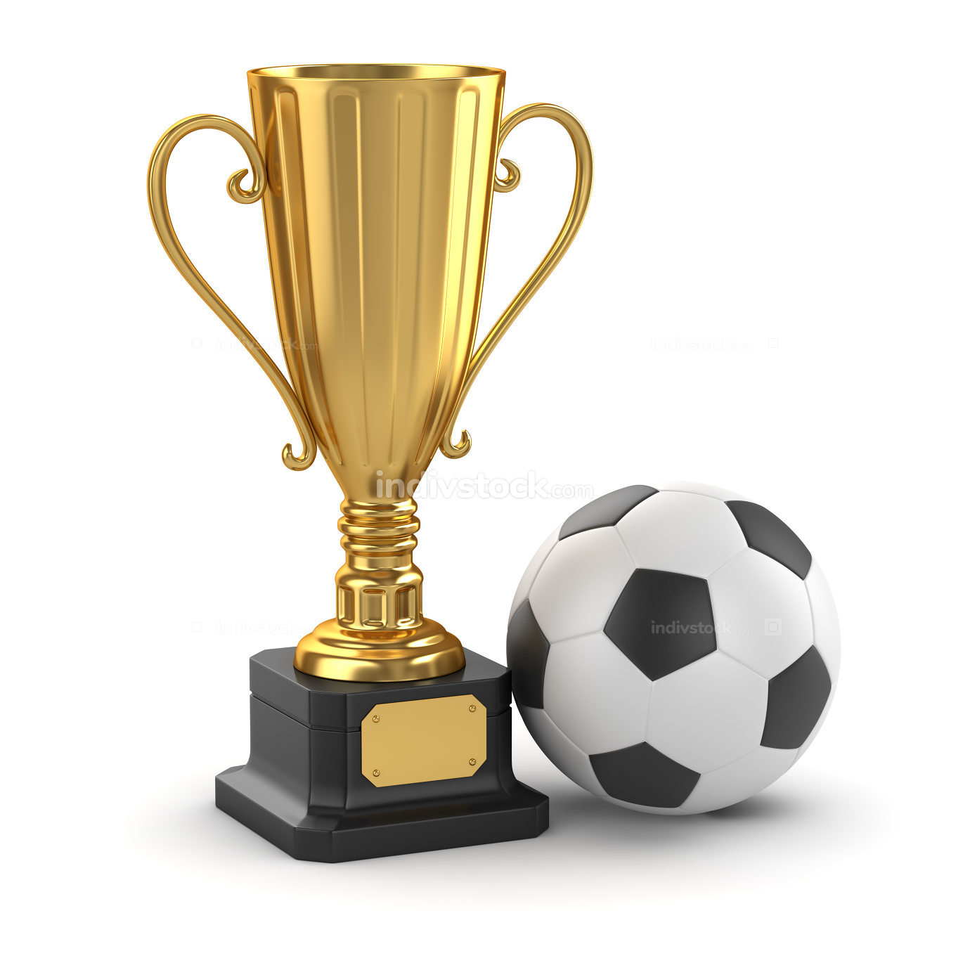 Golden cup and soccer ball 3d rendered picture
