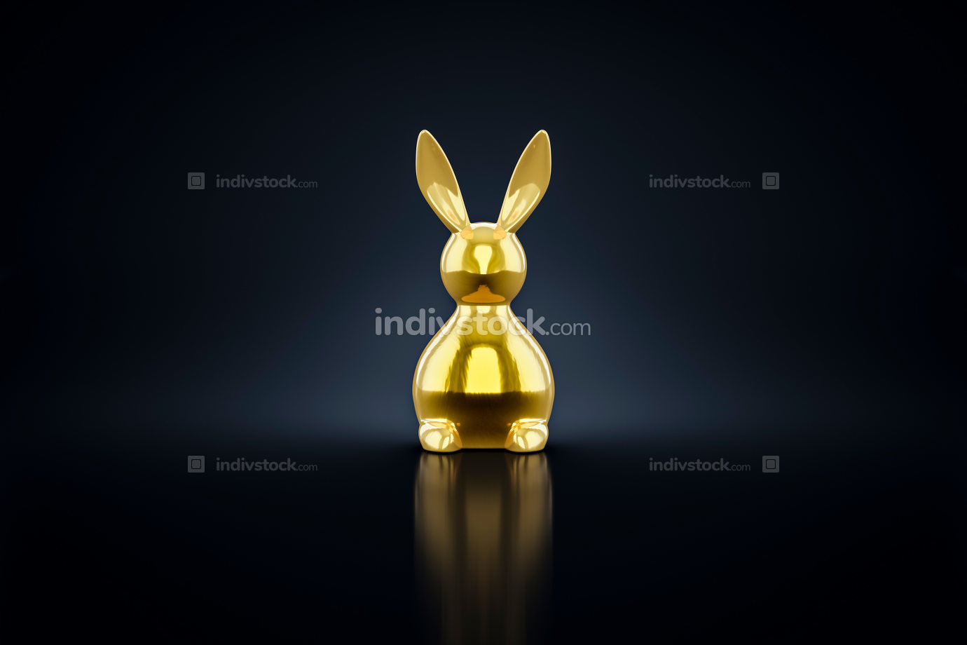 golden easter bunny figure 3d rendering