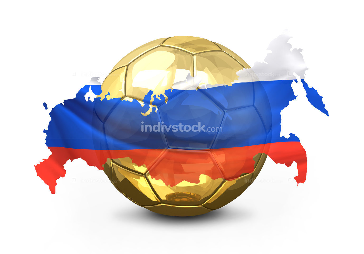 golden soccer football ball. Russia russian map. isolated 3d ren