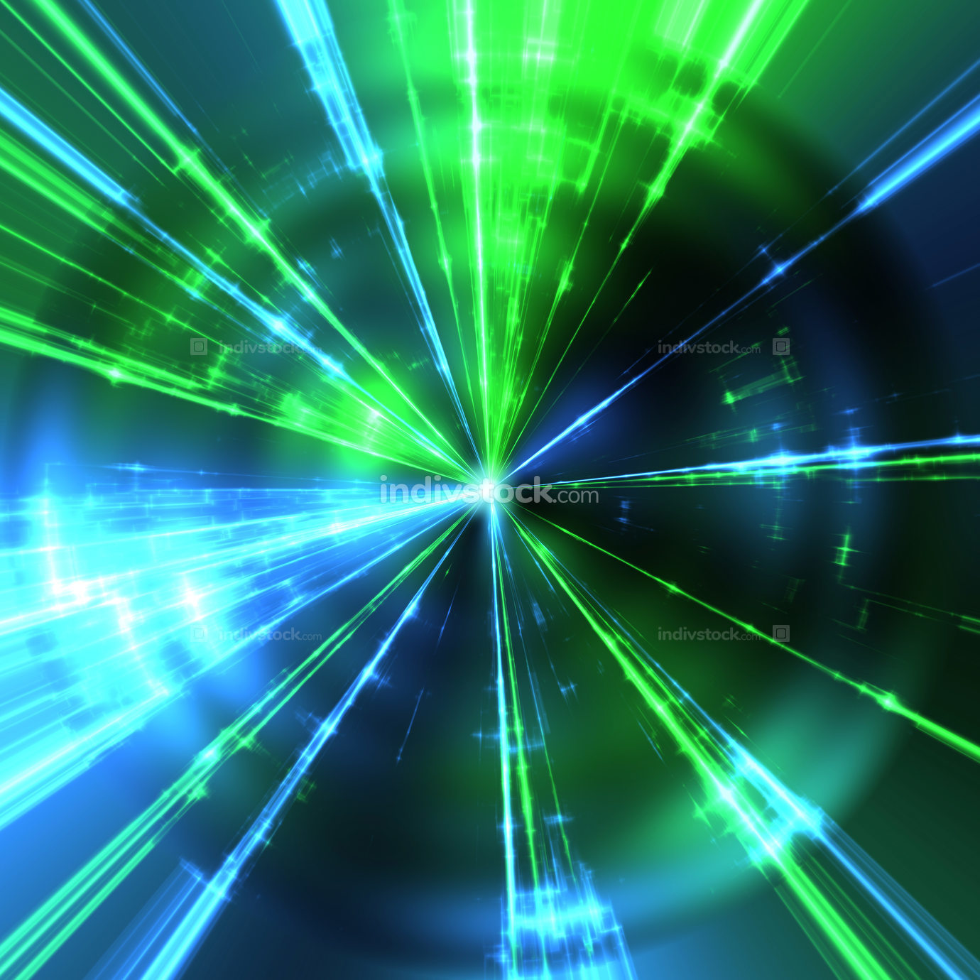 green and blue laser rays Illustration