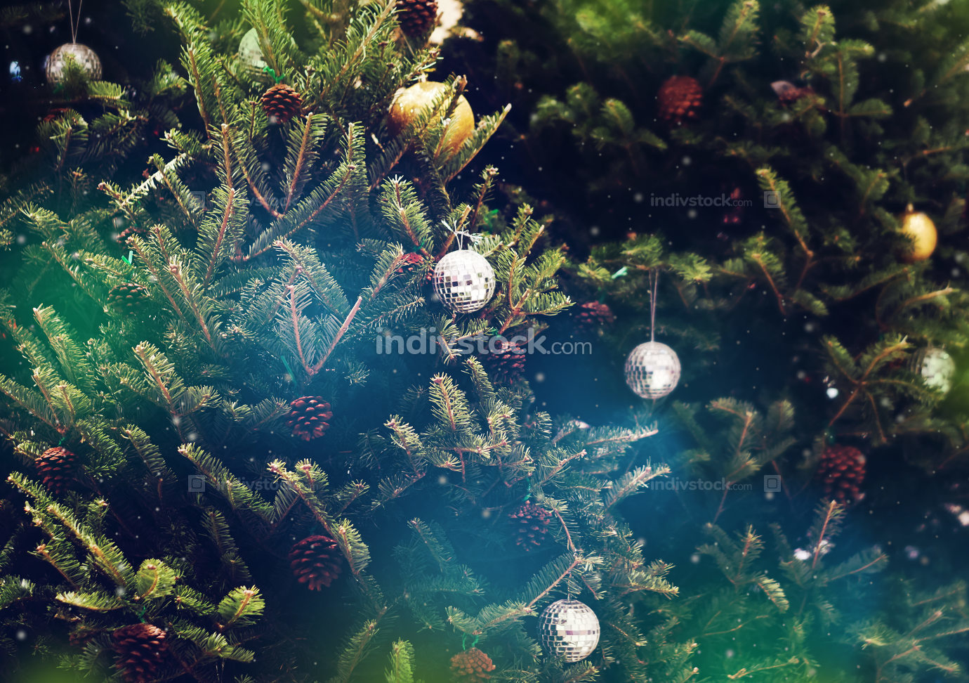 green christmas fir tree decoration background and 3d rendering