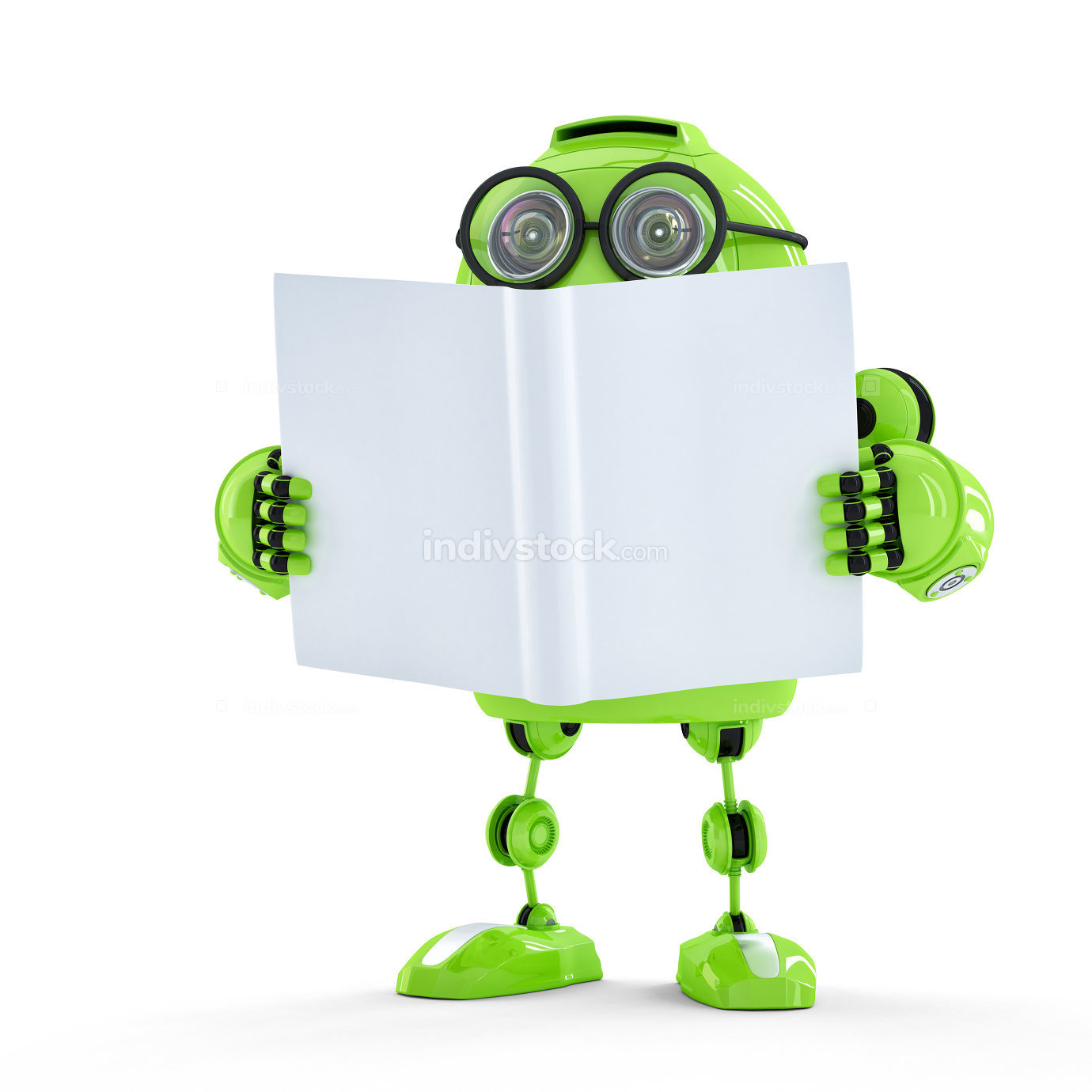 Green Robot with book.