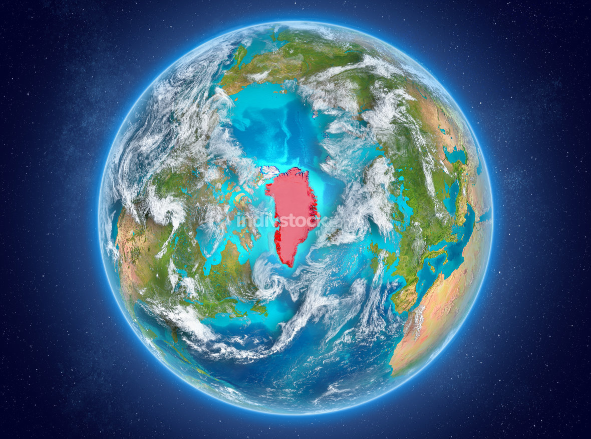 Greenland on planet Earth in space