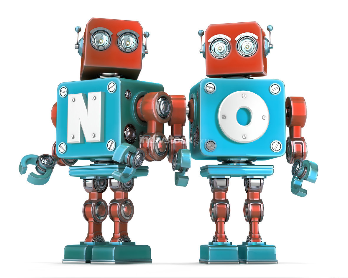 Group of Retro Robots with NO sign. Isolated. Cnotains clipping path