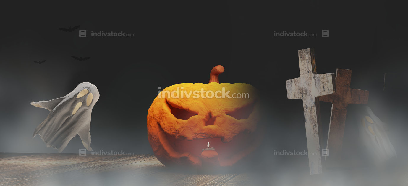 Halloween background 3d.illustration