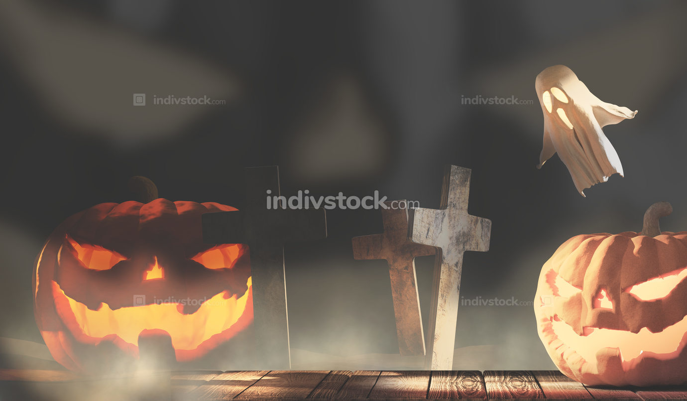 Halloween background 3d-illustration with halloween pumpkin ghos