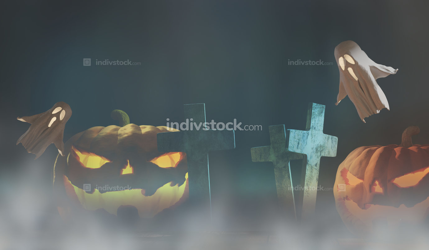 Halloween fog background 3d-illustration with halloween pumpkins
