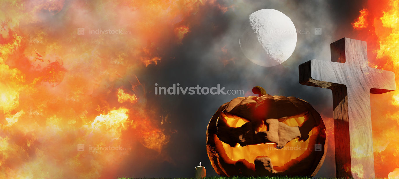 halloween graveyard and pumpkins with fog and moon 3d-illustrati